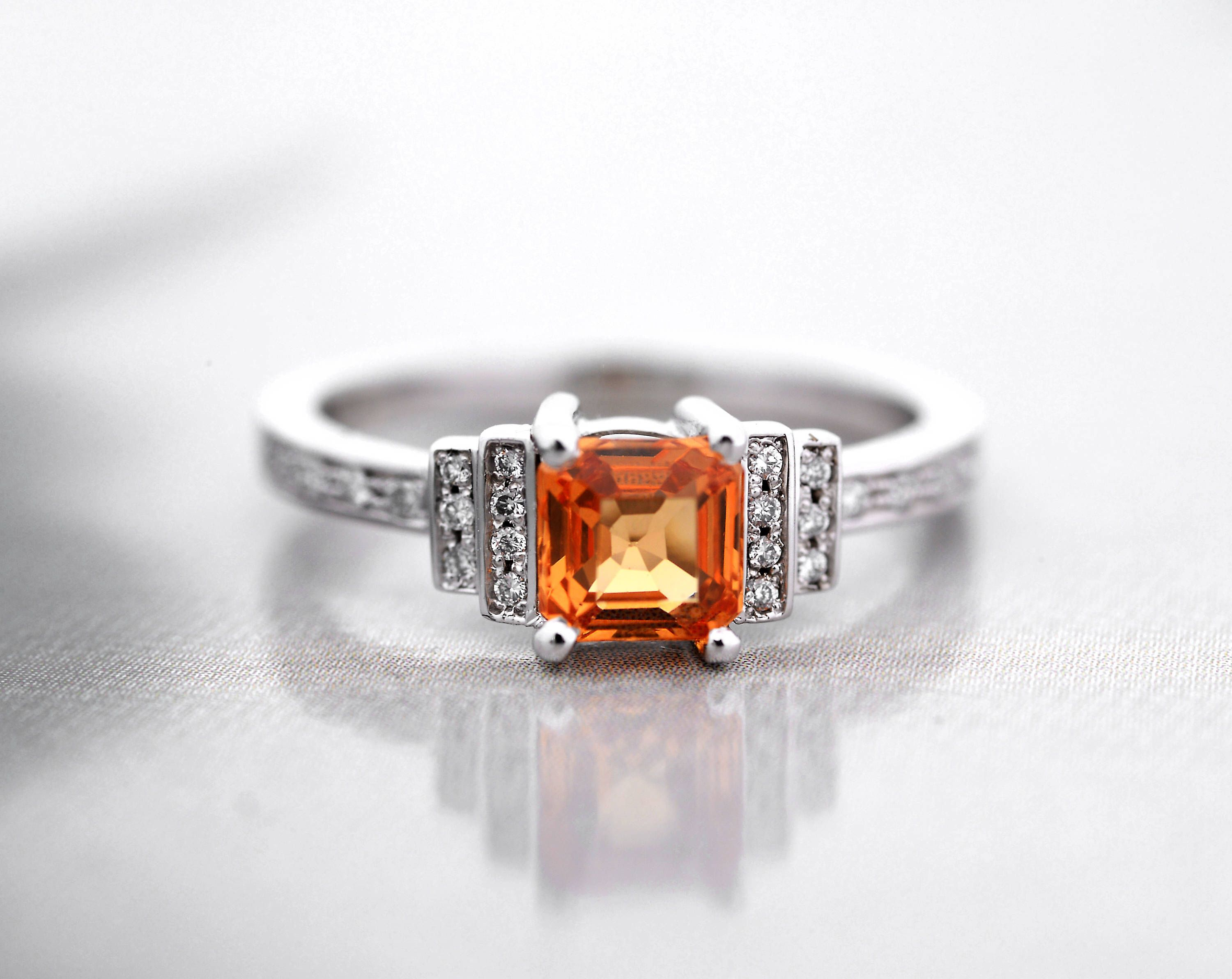 diamond in three white engagement jewelry stone cut princess gold orange rings with fascinating ruby red nl wg ring