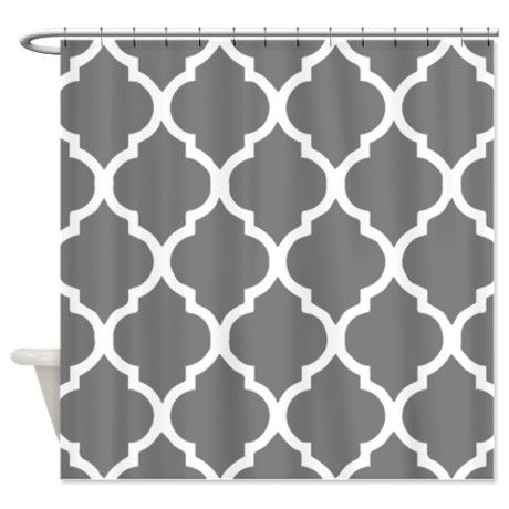 Gray Quatrefoil Pattern Shower Curtain By Shower Curtains World Turquoise Shower Curtain Turquoise Bathroom Decor Gray Shower Curtains