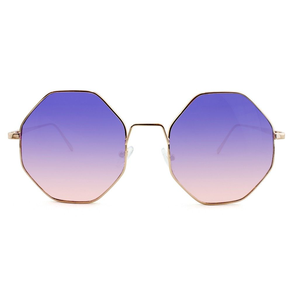30d0cd3c9c4 Women s Geometric Round Sunglasses with Purple to Pink Gradient Lenses - Rose  Gold