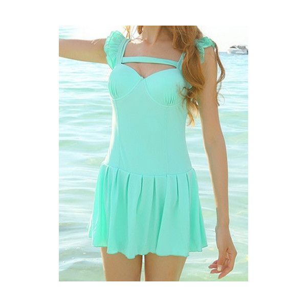 Trendy Style Square Neck Solid Color One Piece Women s Swimsuit (£11) ❤ liked on Polyvore featuring swimwear, one-piece swimsuits, green, swim suits, green swimsuit, green bathing suit, one-piece swimwear and 1 piece swimsuit
