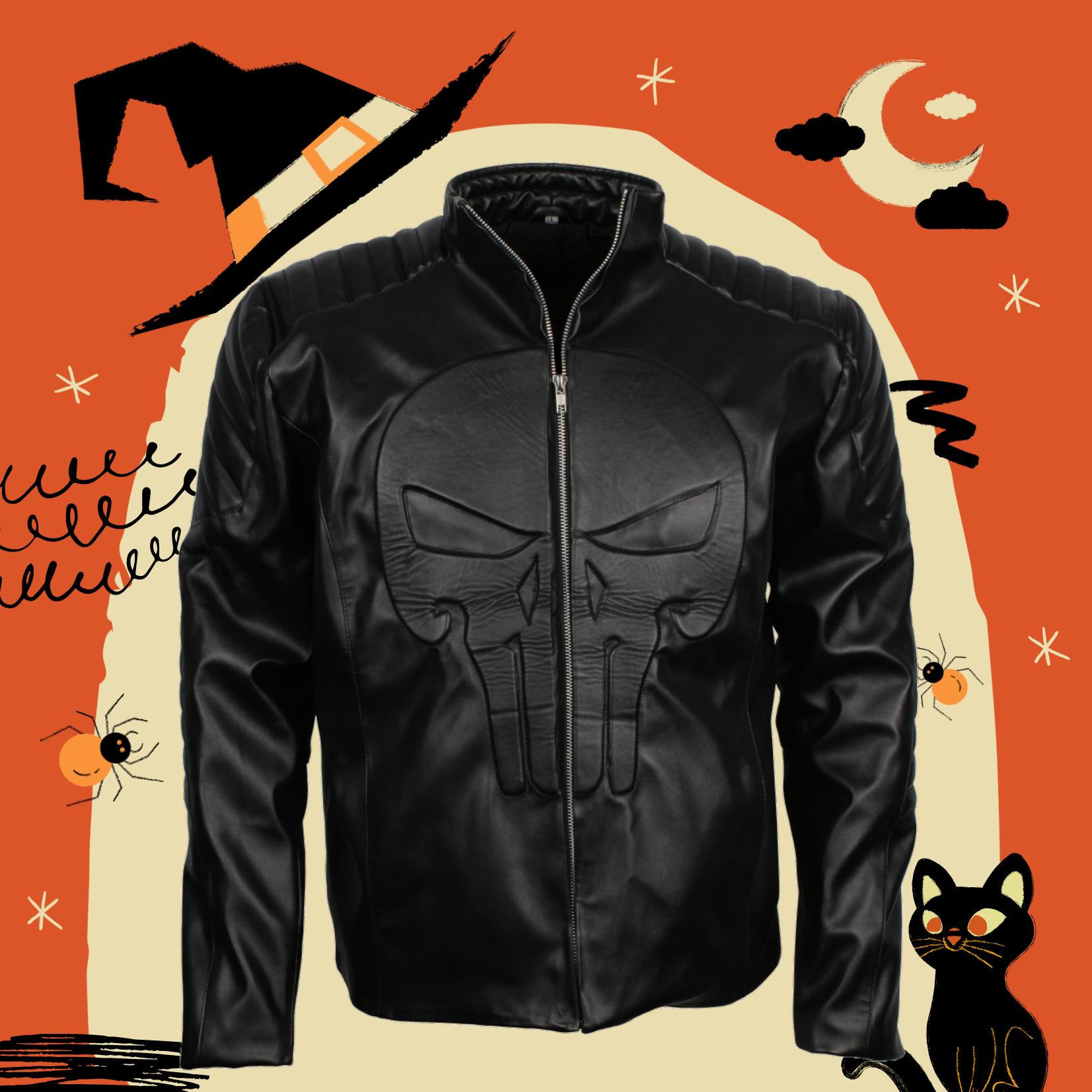 Punisher Men S Black Faux Leather Jacket Us Leather Mart In 2020 Black Faux Leather Jacket Faux Leather Jackets Jackets [ 1653 x 1653 Pixel ]