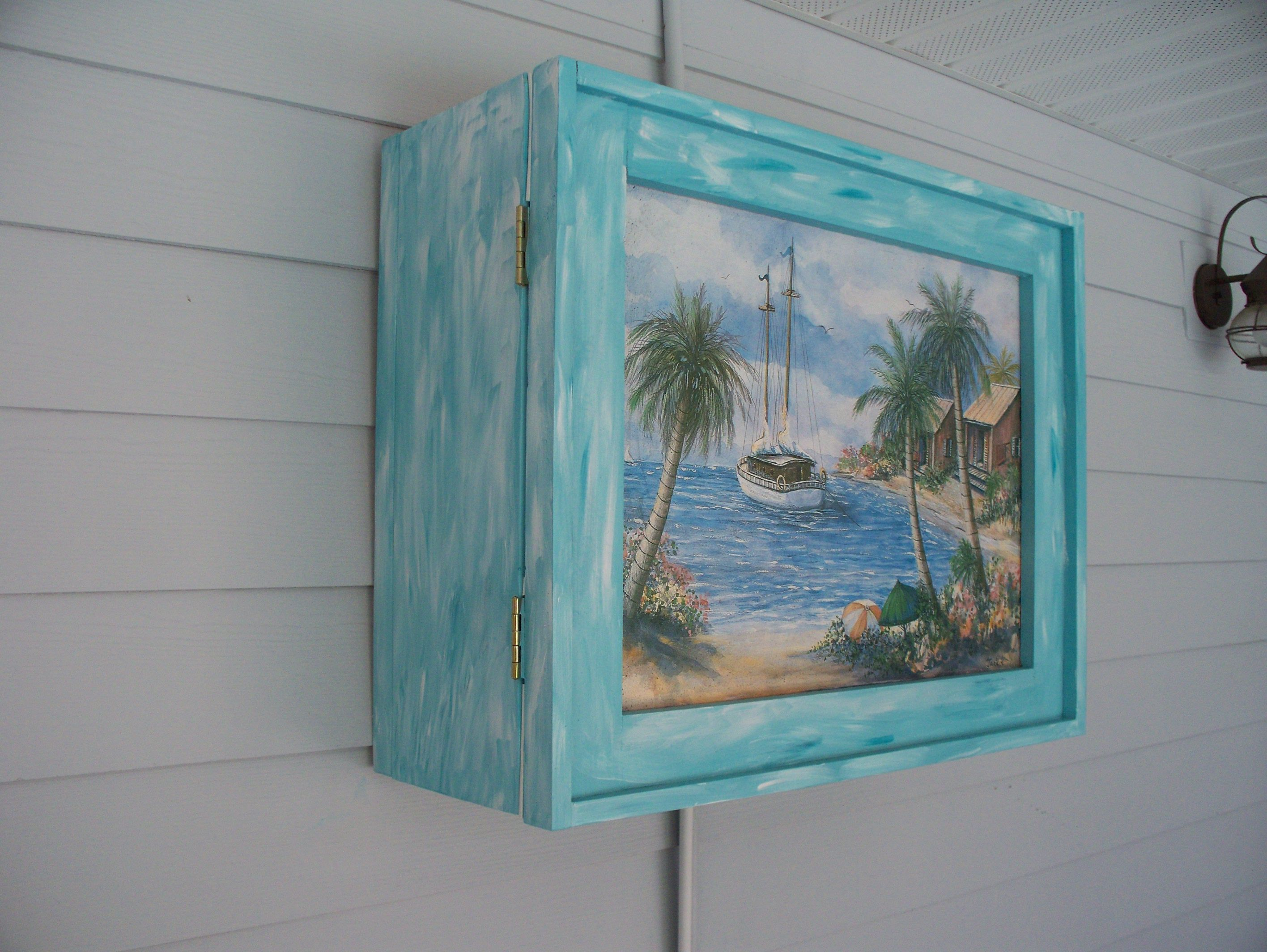 Amazing Blue Outdoor Tv Cabinet With Wooden Stuff At Grey Wooden ...