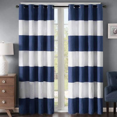 Regency Heights Parker Stripe 63 Inch Grommet Window Curtain Panel In Navy White