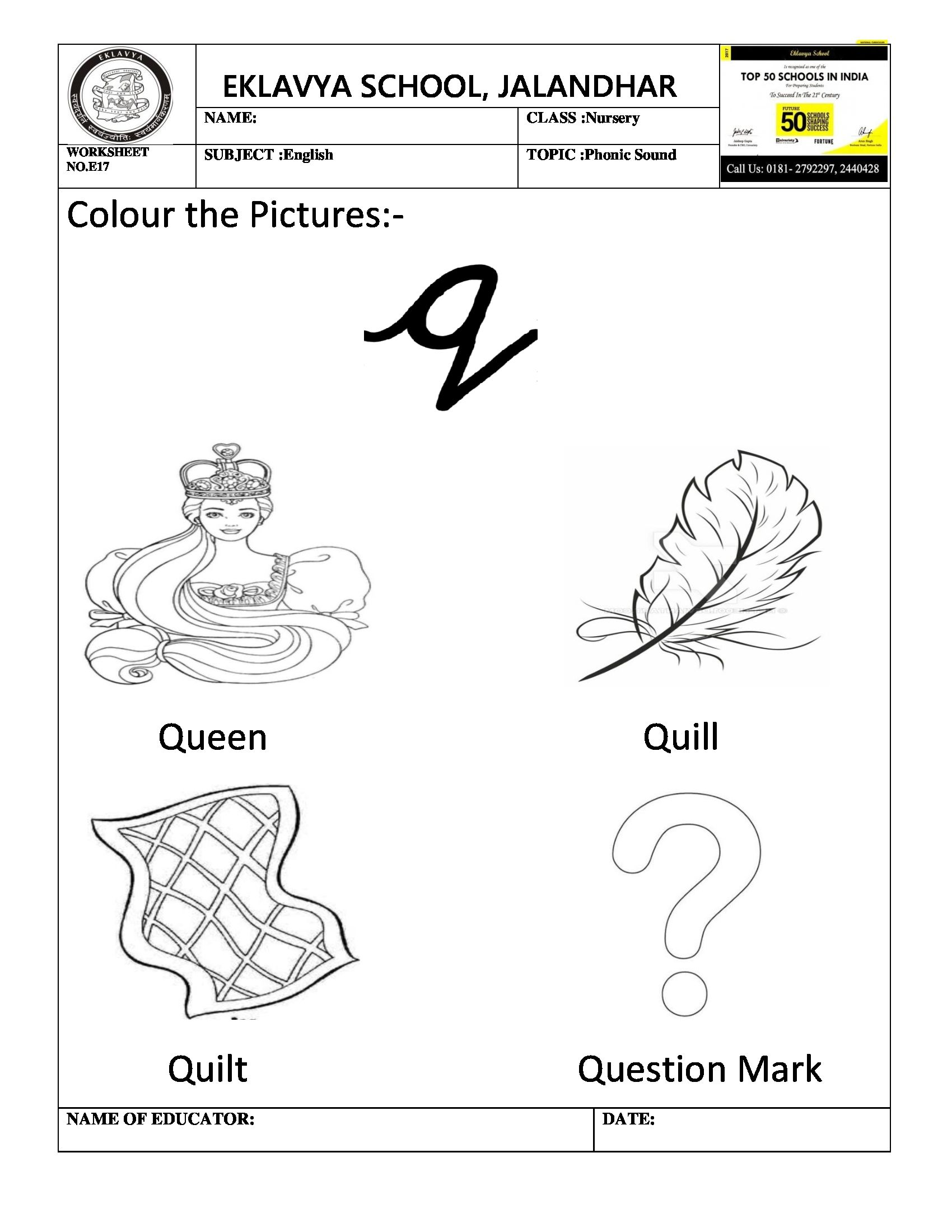 Worksheet On Phonic Sound Q With Images