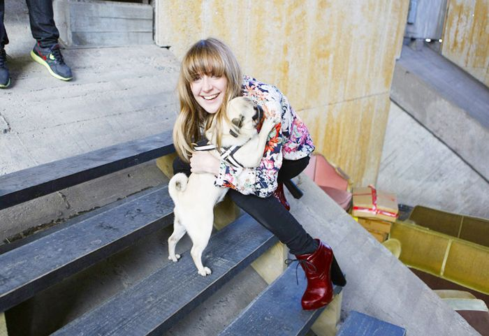 Emma Elwin and her pup pug.