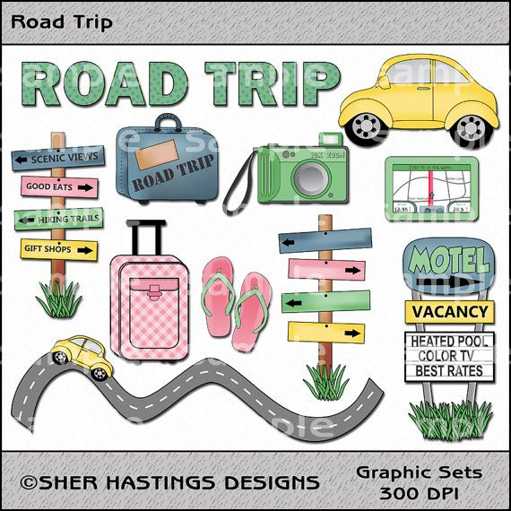 road trip clipart and graphic set travel clipart vacation clipart rh pinterest com cartoon road trip clipart road trip clipart images