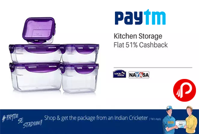 @paytm #offers Flat 51% Cashback on Kitchen Storage. Cello, Lock & Lock, Naysaa Brands includes.http://www.paisebachaoindia.com/flat-51-cashback-on-kitchen-storage-paytm/