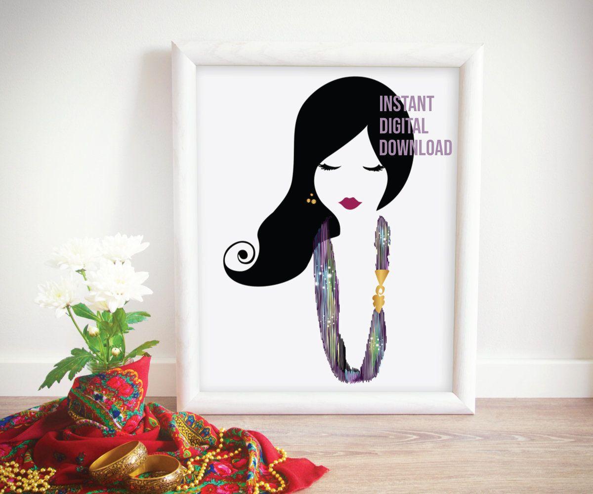 Boho girl printable pretty face wall art bohemian gift