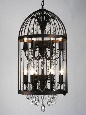 Unique Vintage Lantern Birdcage Crystal Chandelier Pendant Clear