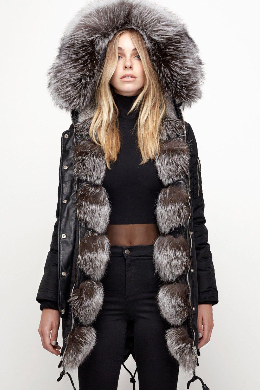Nicole Benisti Brera Black Silver Fox Fashion Stylish Fashion Hot Hoodies [ 1500 x 1000 Pixel ]
