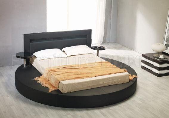 Leatherette Round Platform Bed Palazzo Black Platform Bed Bed Frame Round Beds