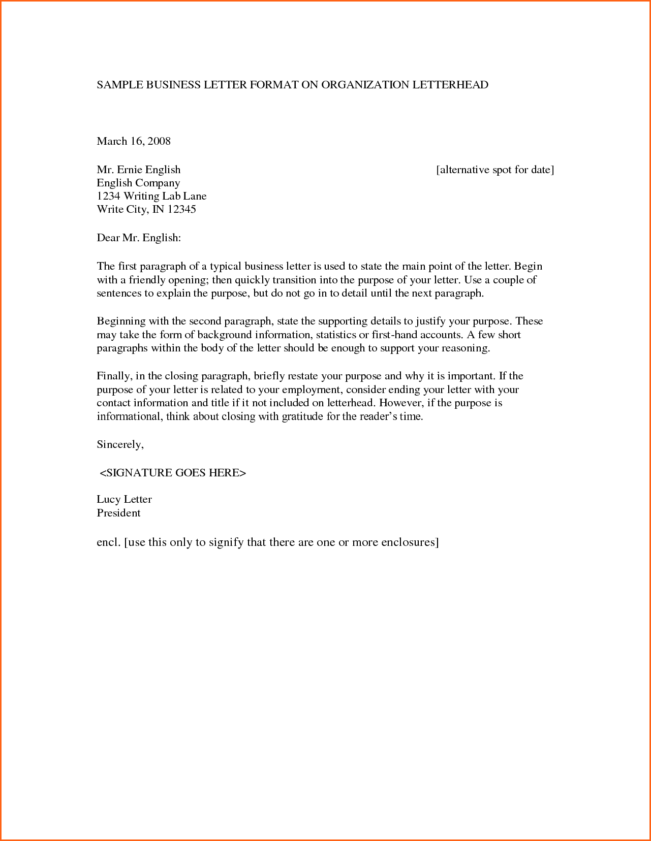 Sample Business Letter Format Company Letterhead Get Now Doc