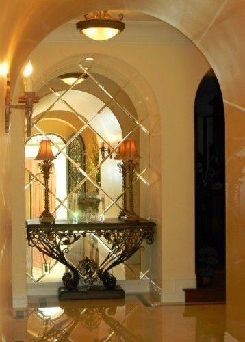 Mediterranean Entry Design Beveled Mirror Modern Interior Design House Design