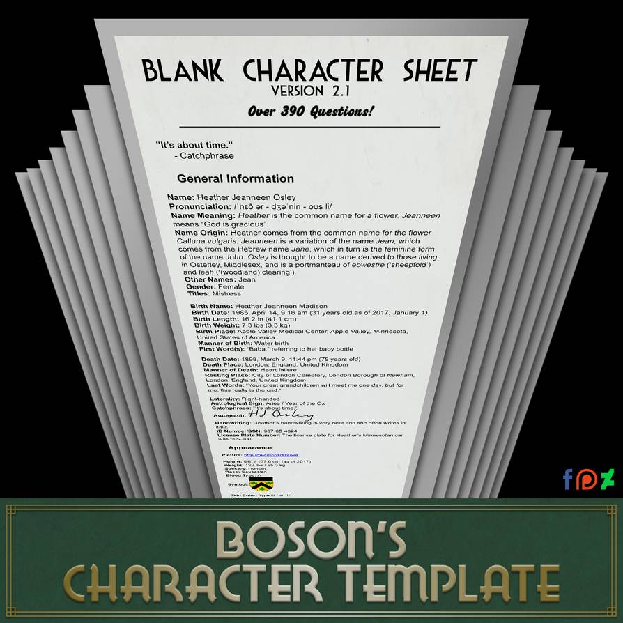 Blank Character Sheet 2.1.8 (390+ Questions!) By TheBoson