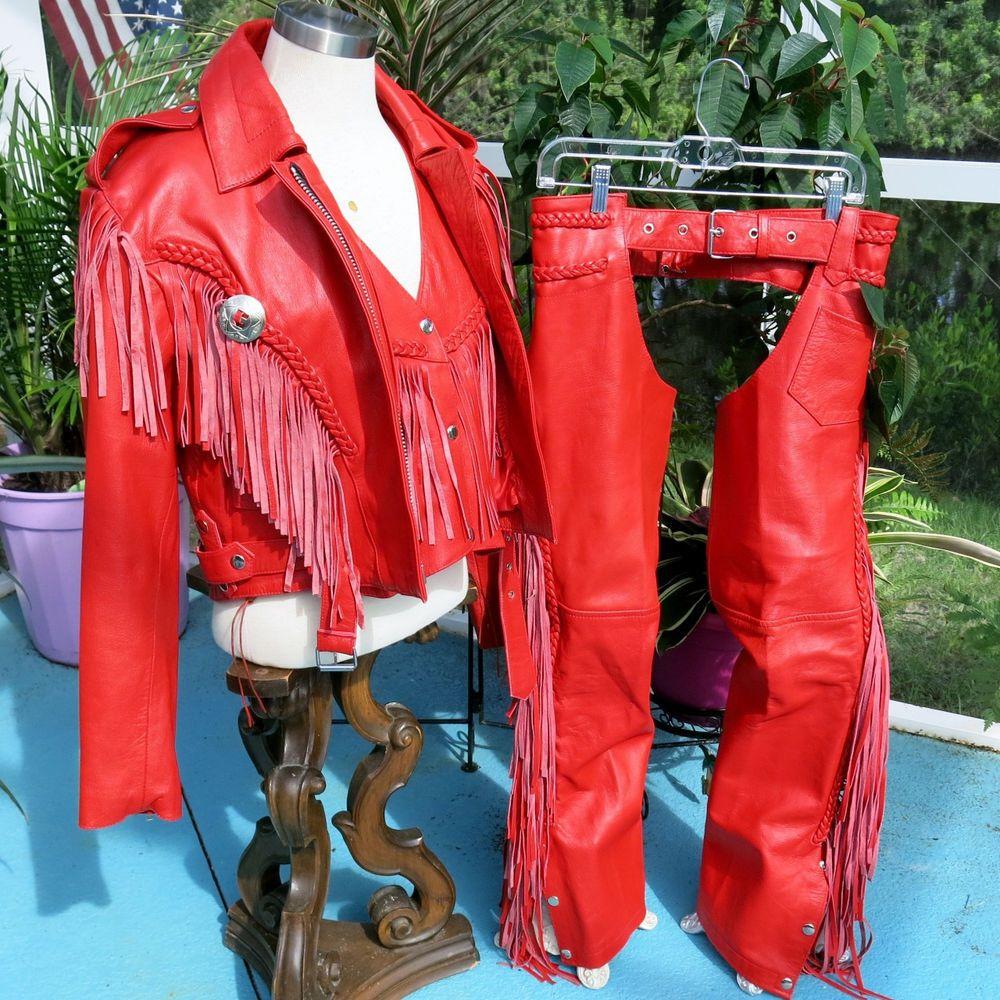 6bb7efb91 Women's Red Leather Motorcycle Biker Riding Fringe Jacket Chaps Vest ...
