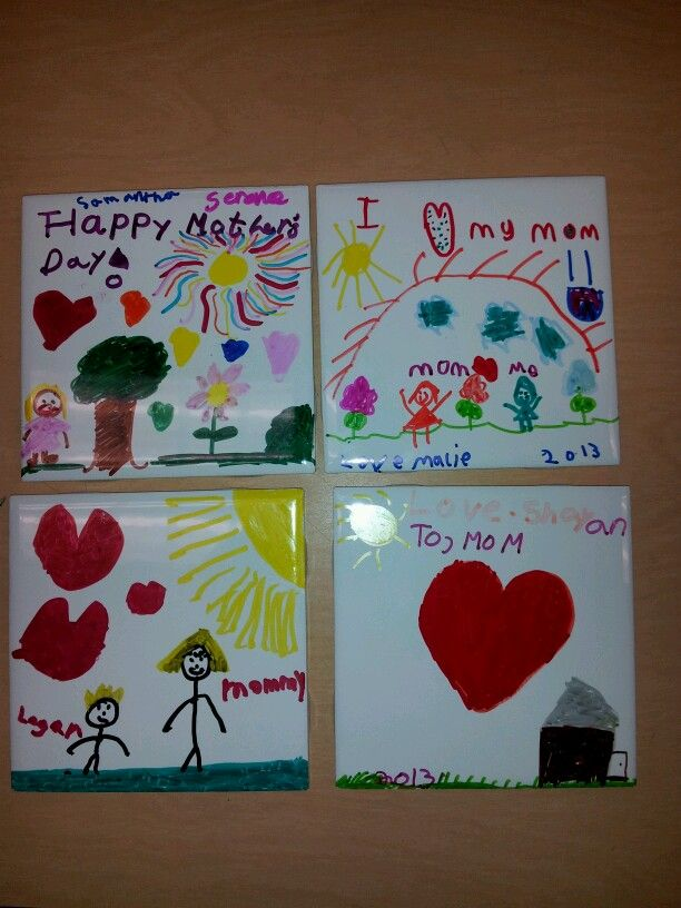 Mothers Day Coasters Made From Tiles Colored With Sharpie