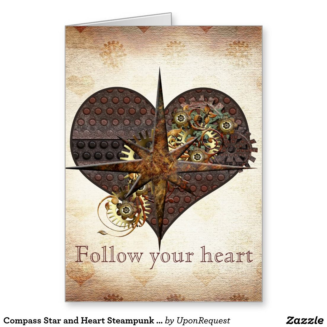 Compass Star And Heart Steampunk Valentine Christmas Card