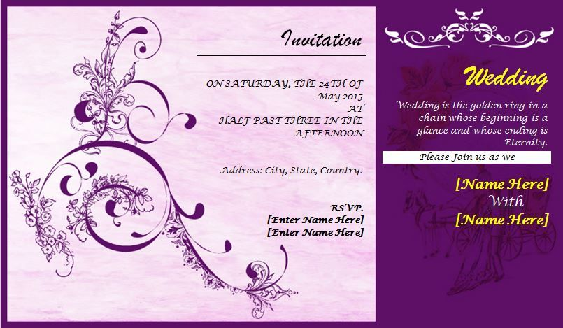 Professionally Design Wedding Invitation Card can help you draft a – Template Invitation Card