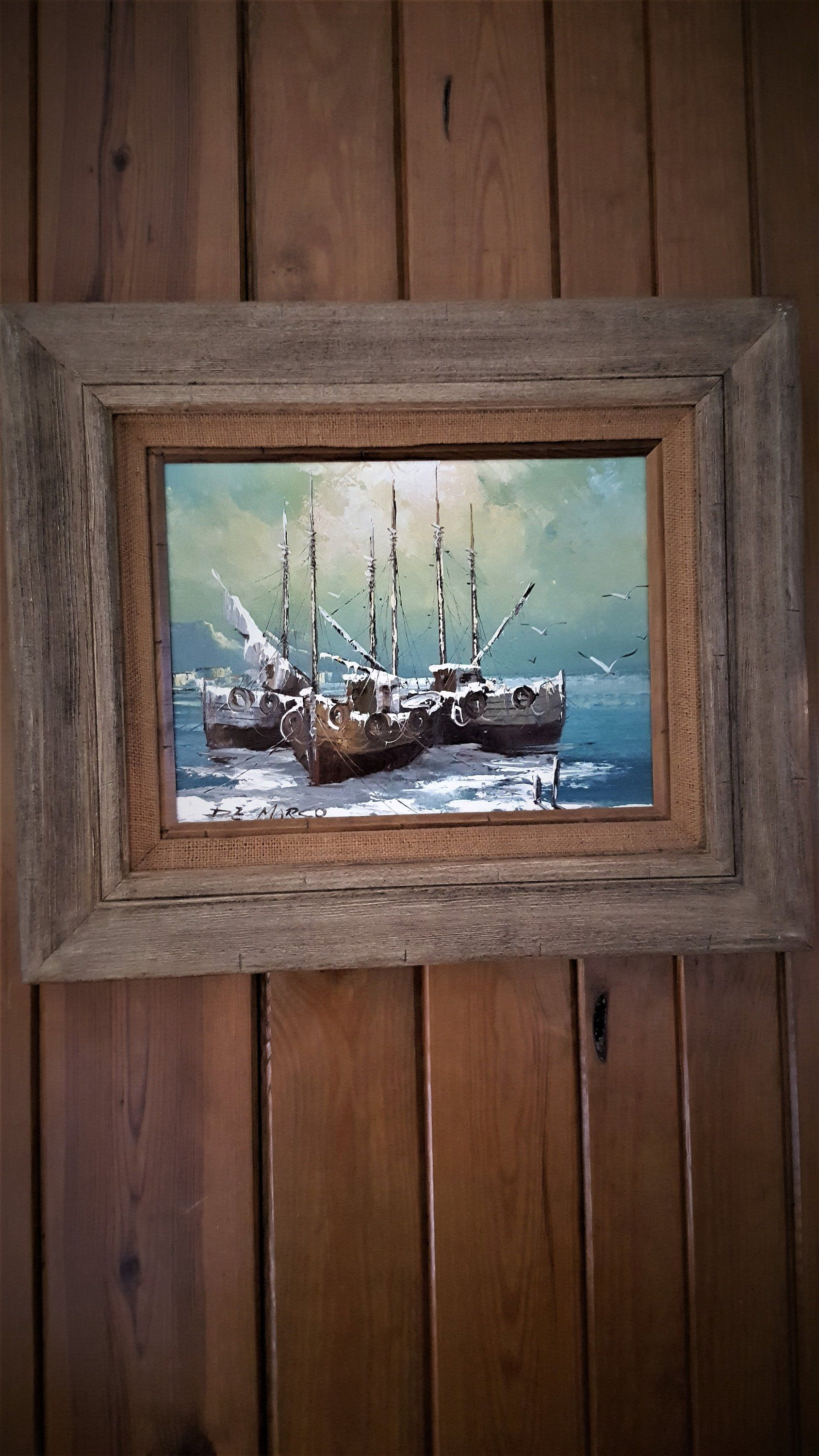 Vintage Richard Demarco Oil Painting On Canvas Ships In The Harbor Richard Demarco Scotland Artist By Bro Oil Painting Oil Painting On Canvas Canvas Painting