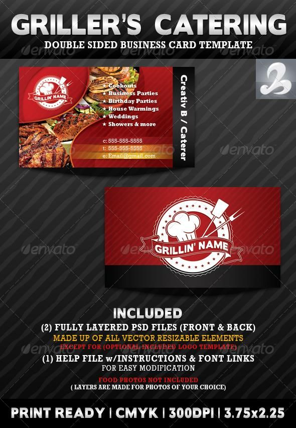 Griller\'s Catering Business Card Templates | Catering business, Card ...