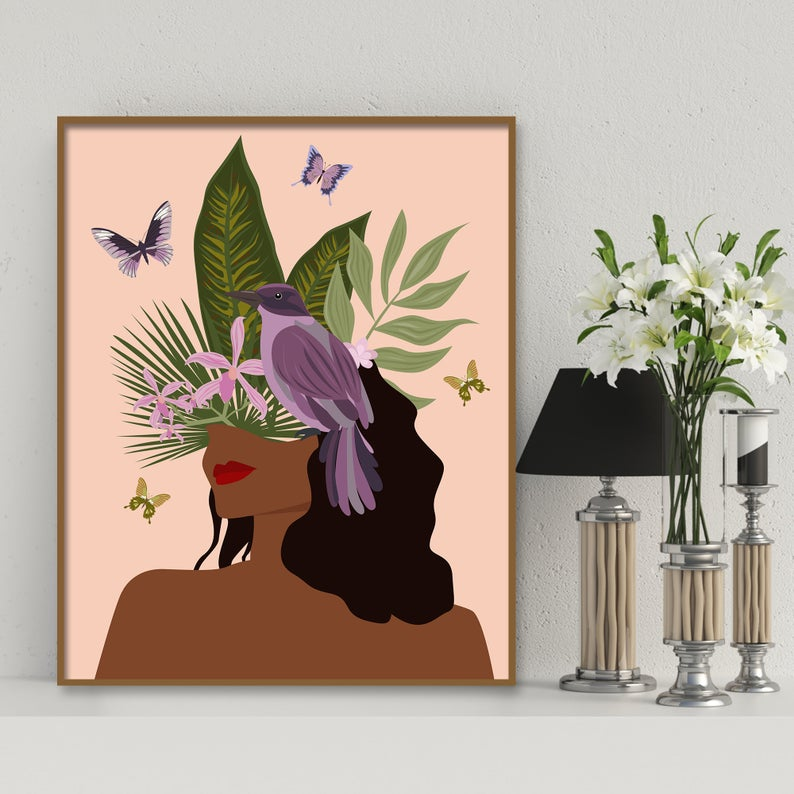 African American Women Art Black Girl Wall Art Black Woman Etsy Girls Wall Art African American Art Women Female Art