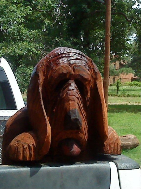 Truck dog wood carving carvings