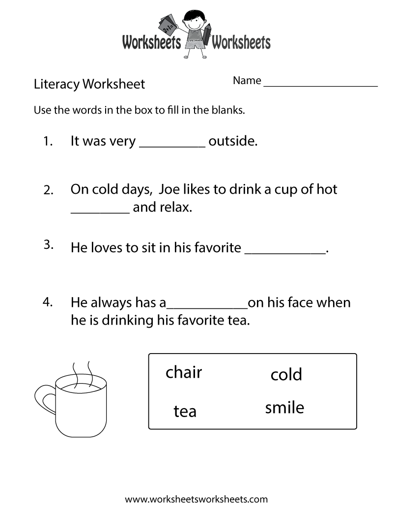 kindergarten worksheets   Kindergarten Literacy Worksheet - Free Printab…    Literacy worksheets [ 1035 x 800 Pixel ]