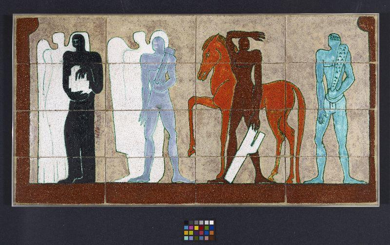 Le forze fasciste [The Fascist Forces]. For the Padiglione dell'Architettura [Architecture Pavilion], VI Triennale, Milan, 1936 [mural study] Créateur:     Tullio D´Albisola ( Designer )     Casa Giuseppe Mazzotti ( Maker ) Date de Création:     1935