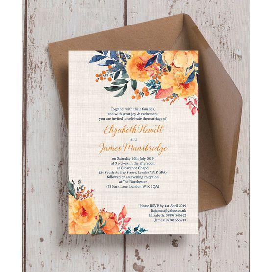 Autumn Orange Fl Wedding Invitation Welcome