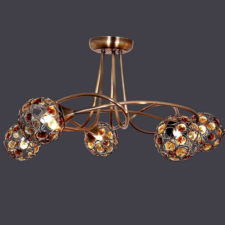 Amber Sphere 5 Light Ceiling Fitting