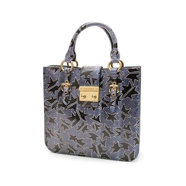 Pre-Owned Miu Miu Blue Hand-Painted Ayers Watersnake Shopping Tote Bag ($700) ❤ liked on Polyvore featuring bags, handbags, tote bags, snakeskin tote, pocket tote bag, snakeskin purse, blue tote bag y preowned handbags