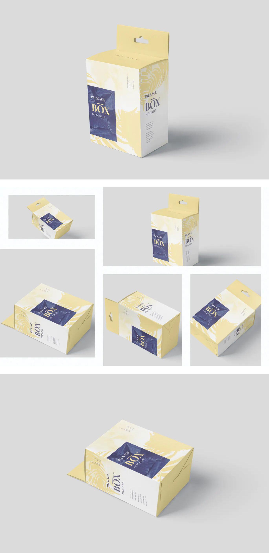 Download Package Box Mockup Set Slim Square With Hanger Box Mockup Box Packaging Hanger Design