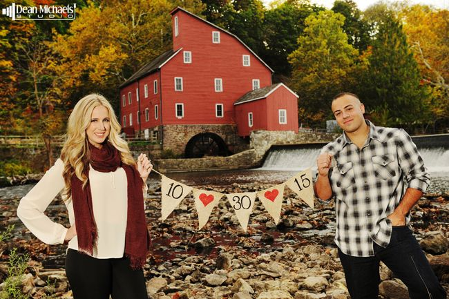 Leighann & Nicholas' October 2014 #engagement #portrait at the Red Mill Museum :D (photo by deanmichaelstudio.com) #love #fall #engaged #photography #deanmichaelstudio