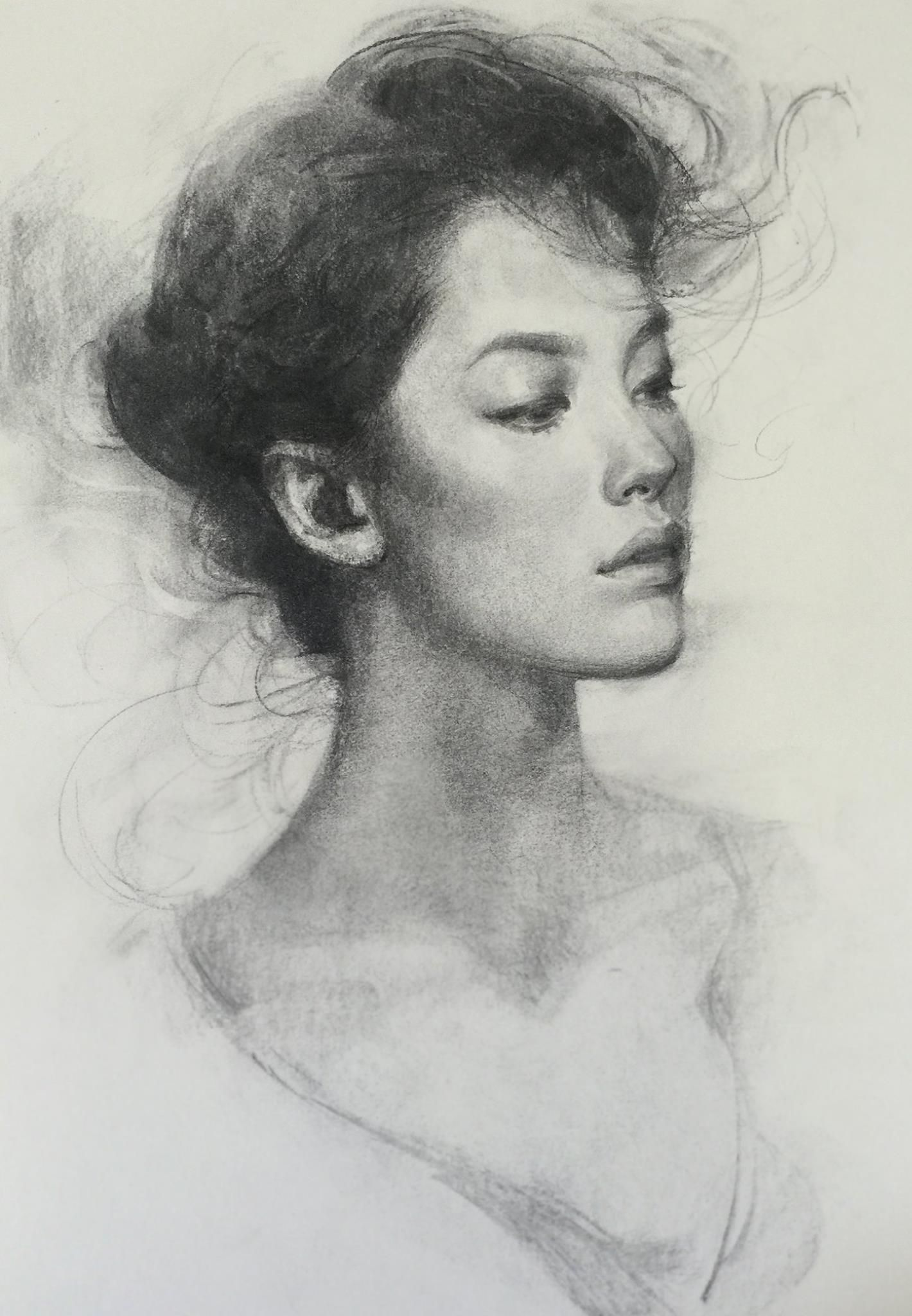 Oliver sin vine charcoal on 18x24 paper portraits women in