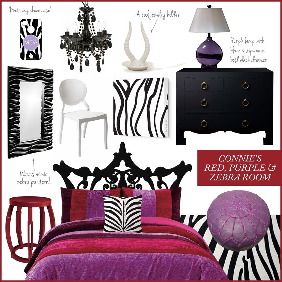 A Red Purple And Zebra Print Room Inspired By Twitter User Connie
