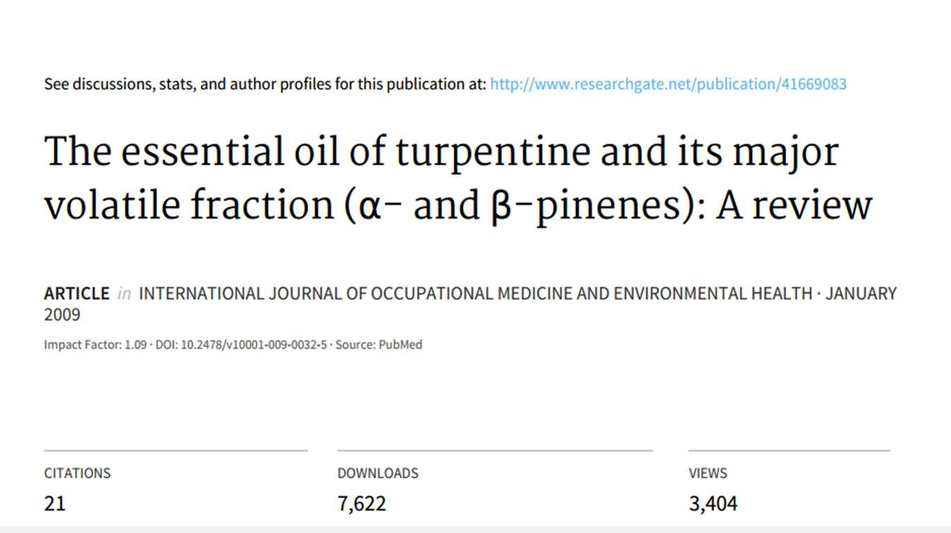 The essential oil of turpentine and its major volatile fraction (α