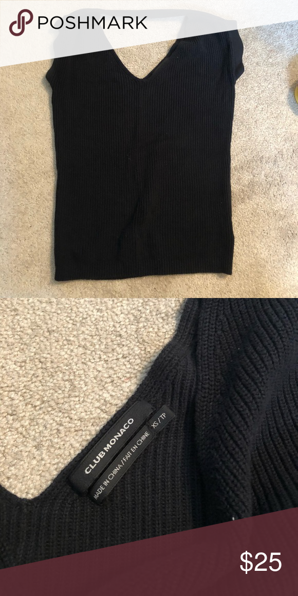 Club Monaco knit top Black knit capped sleeve top with band