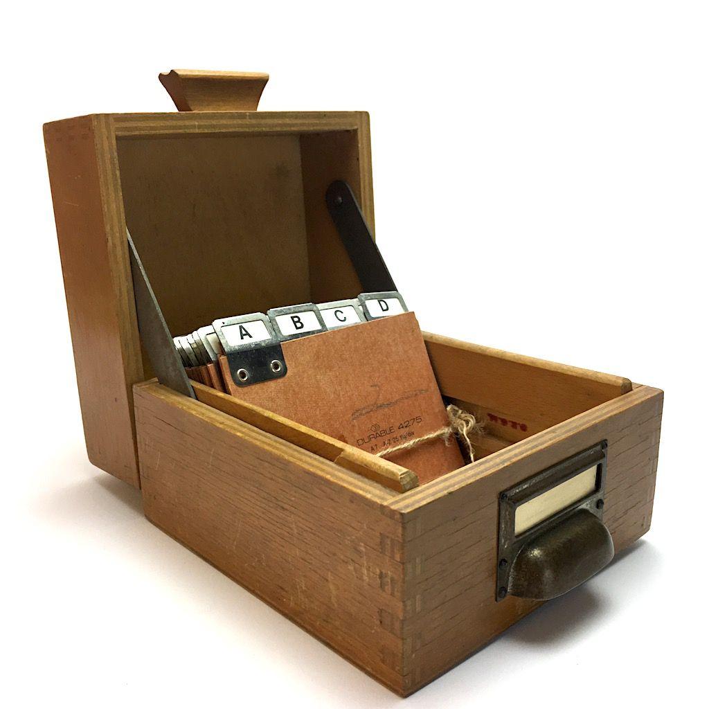 Kontor Karteikasten Holz A7 Mit Metallgriff Und Register