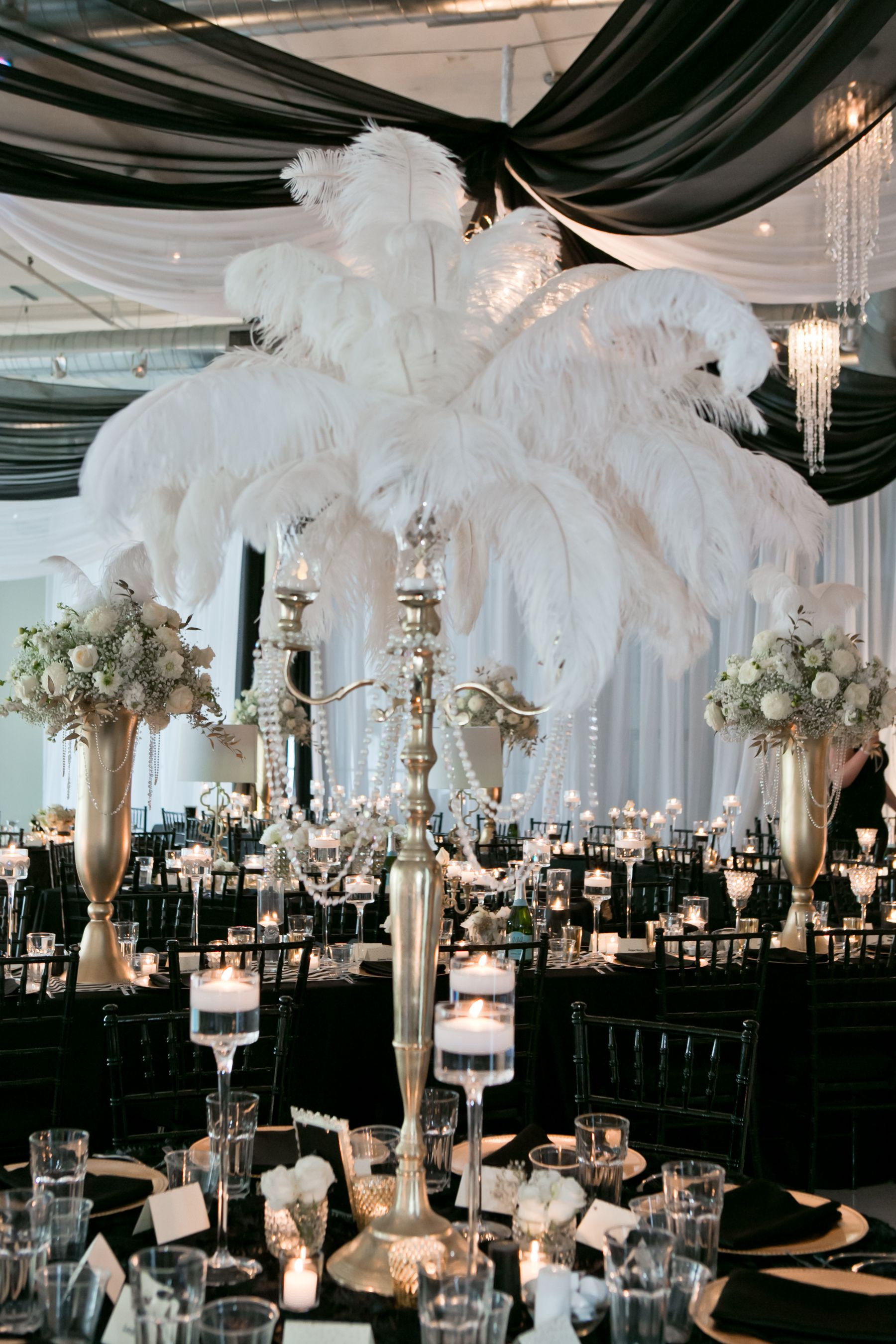 Candelabra Feathers Gold Black By Tamara Wendt Design Glamour N Luxury Wedding