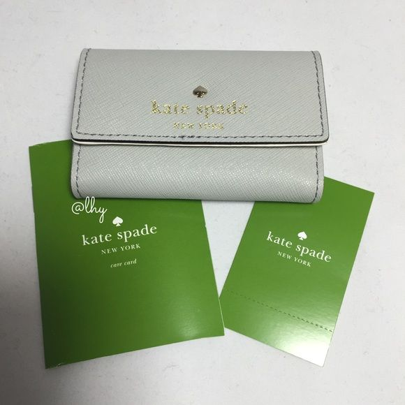 kate spade gray business card case authentic nwt kate