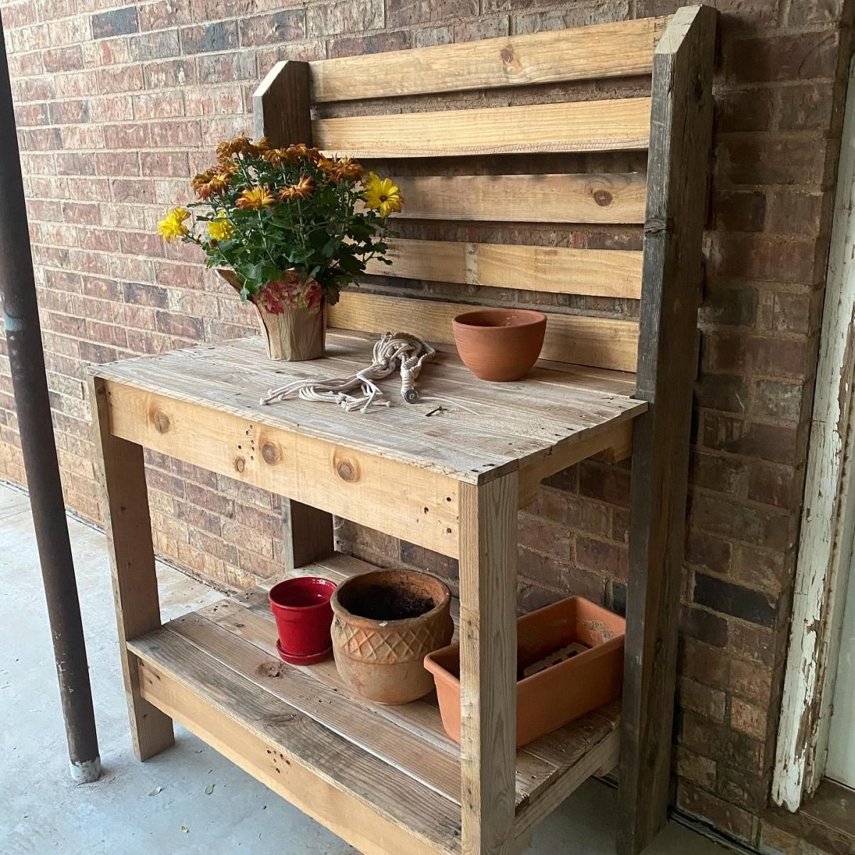 Pallet Wood Potting Bench Ana White In 2020 Wood Pallets Potting Bench Plans Potting Bench