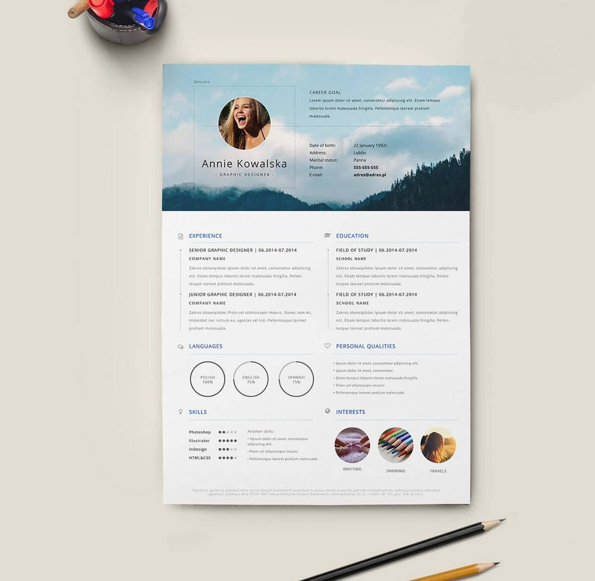 Downloadable resumes templates free in 2020 indesign