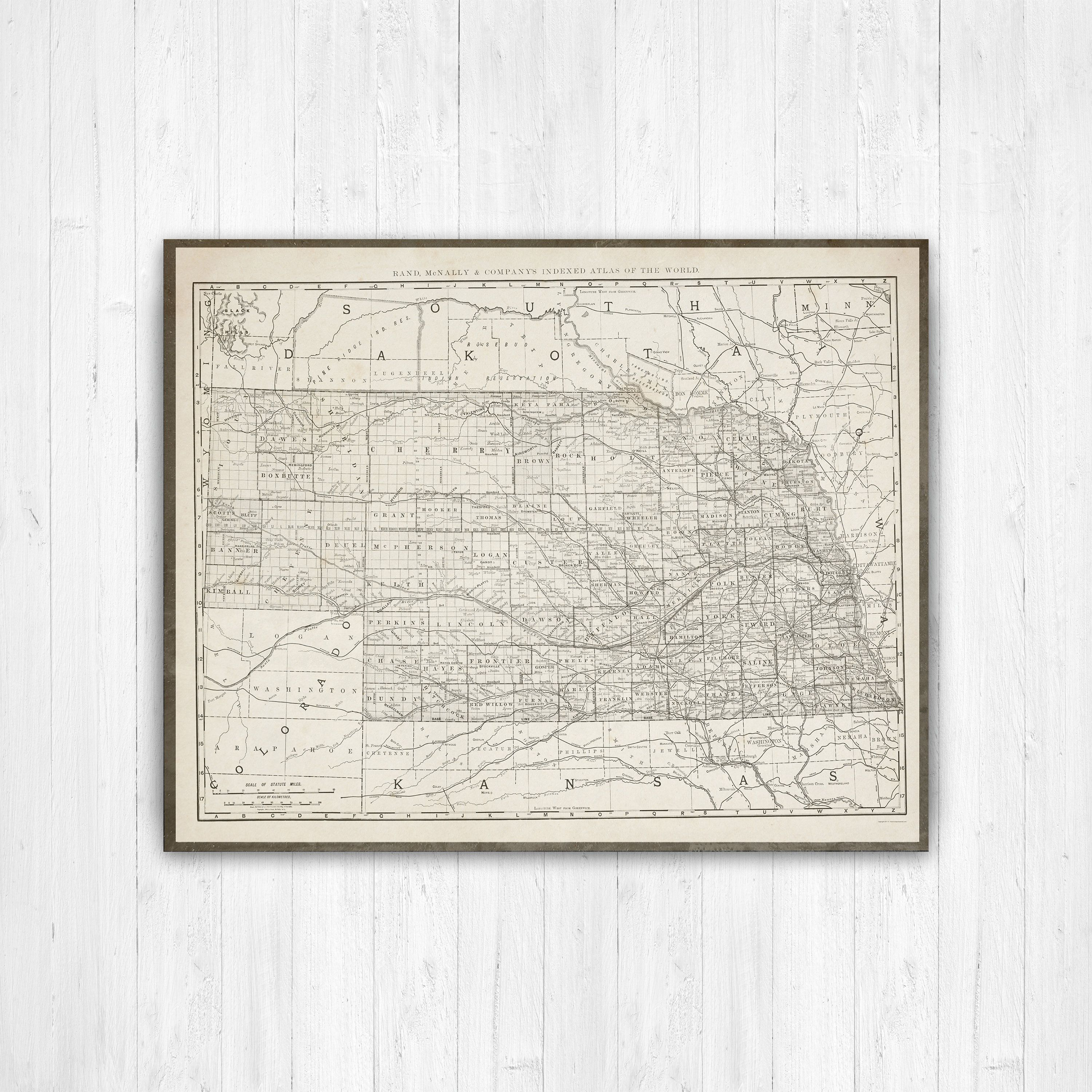 Map Of Nebraska Nebraska State Map Nebraska Map Canvas Antique - Us-map-nebraska-state