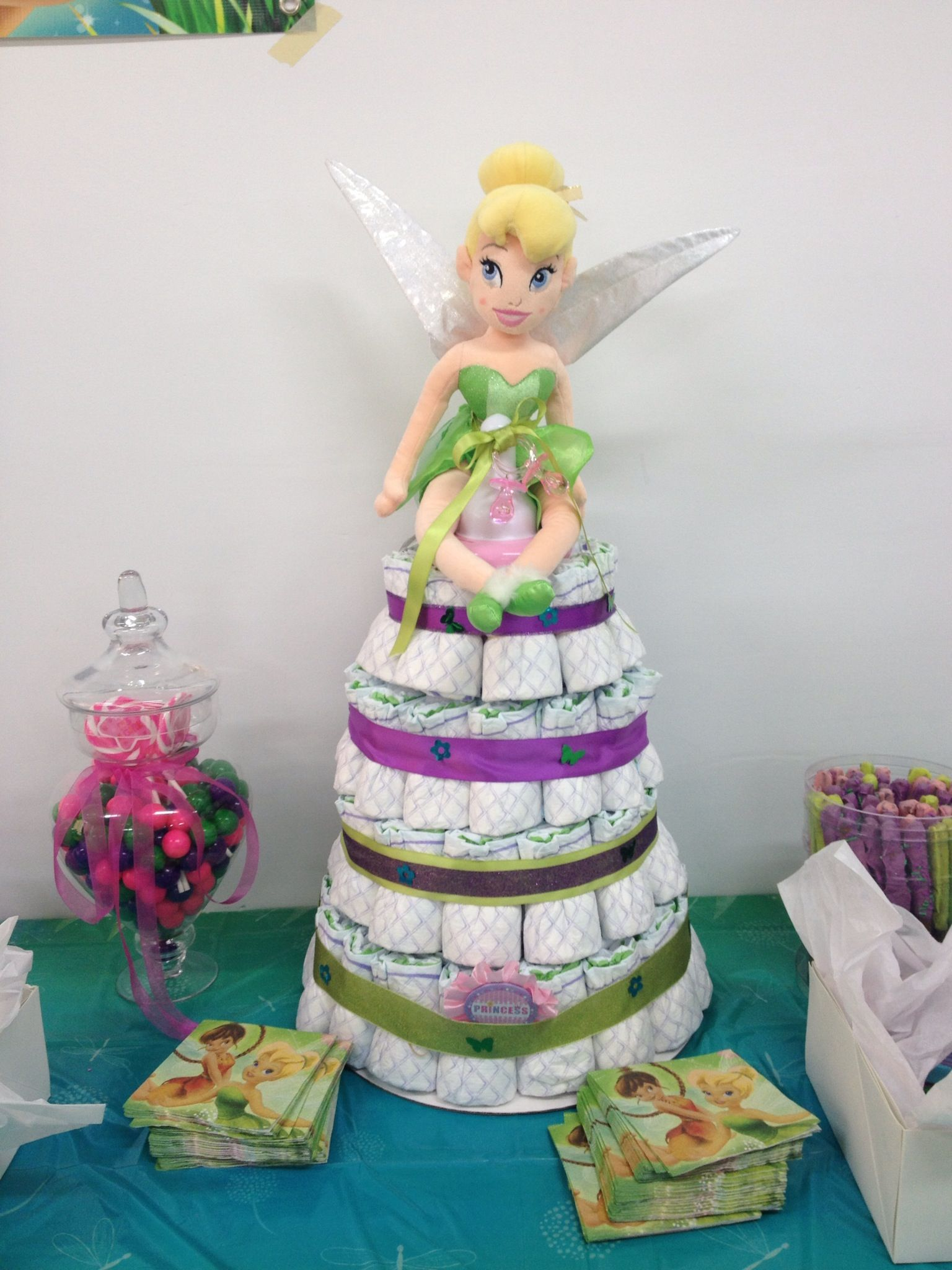 Babyshower · Tinkerbell Diaper Cake (This Does Not Have A Link That Works  But I Love The