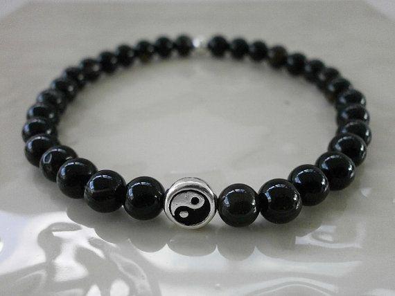 Black Onyx Gemstone Ying Yang Stacking by MECODesignsJewelry, $28.00