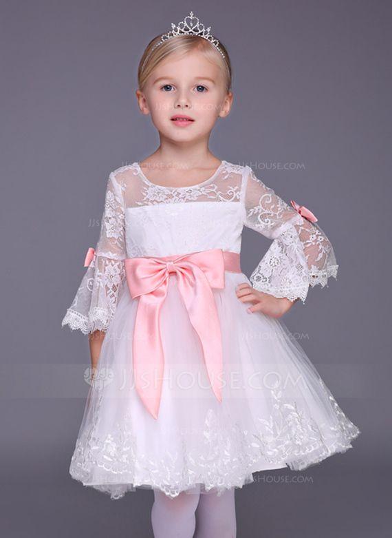 f0105e08865 Vestidos princesa  Formato A Decote redondo Curto Mini Renda Curvado Tule  Renda Manga 3 4 Vestidos de Menina das Flores Vestido…
