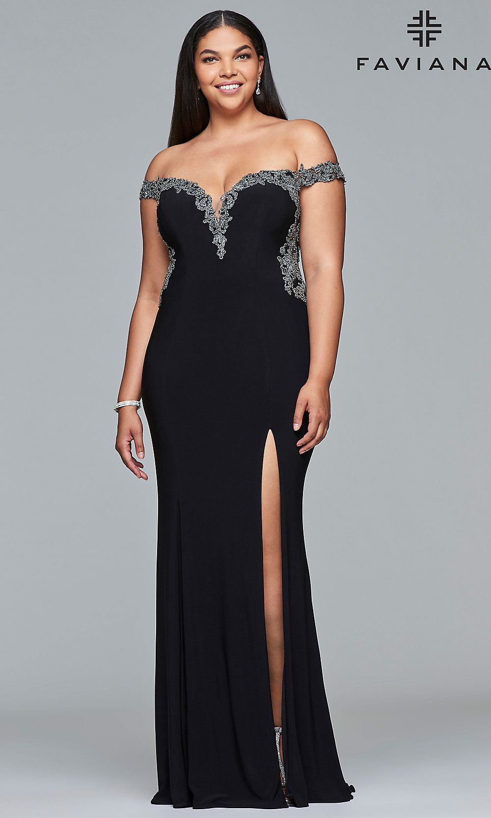 822f83b5abda Plus-Size Prom Dress with an Off-the-Shoulder Neckline in 2019 ...