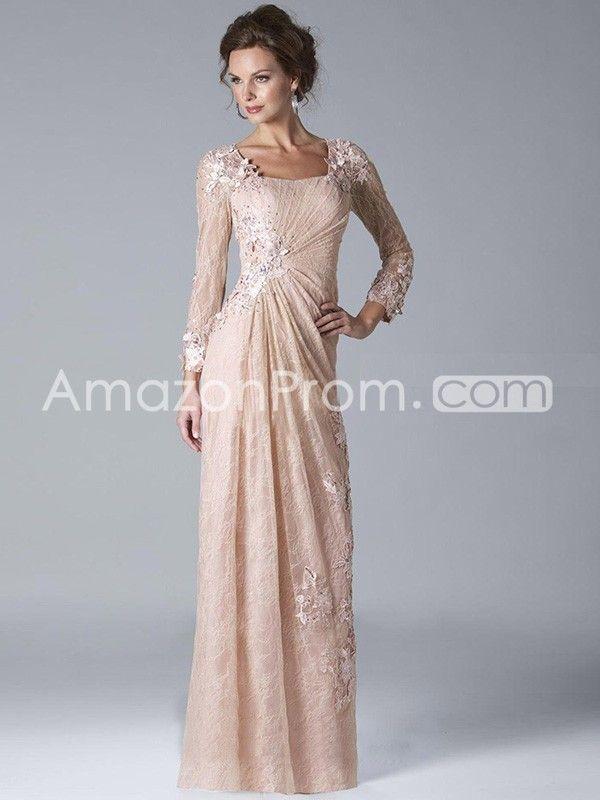 9d1e718c056 A-Line Princess Square Long Sleeves Applique Floor-length Tulle Dress