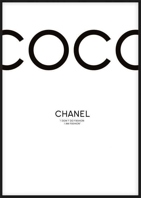 chanel tavla med citat fr n coco chanel i dont do fashion i am fashion trendig och stilren. Black Bedroom Furniture Sets. Home Design Ideas