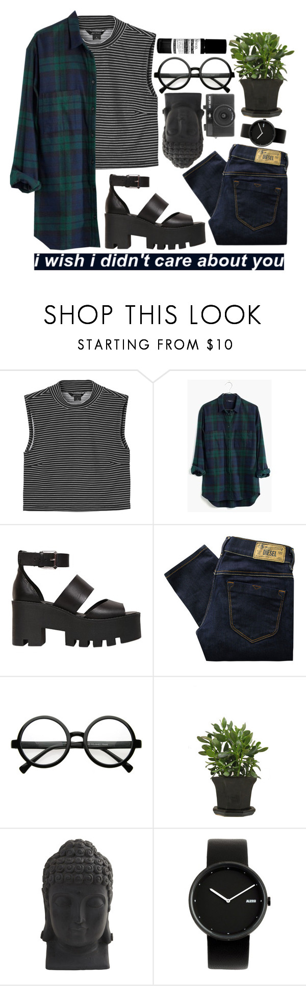 """Untitled #6"" by please-dear ❤ liked on Polyvore featuring Monki, Madewell, Windsor Smith, Diesel, Retrò, Nearly Natural, Holga, Alessi and Aesop"
